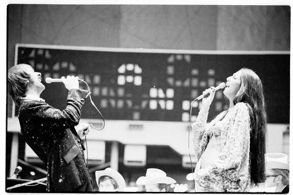 02/23/1974 - Sonny & Cher perform at the Houston Livestock Show & Rodeo in the Astrodome.  Bill Clough / Houston Chronicle