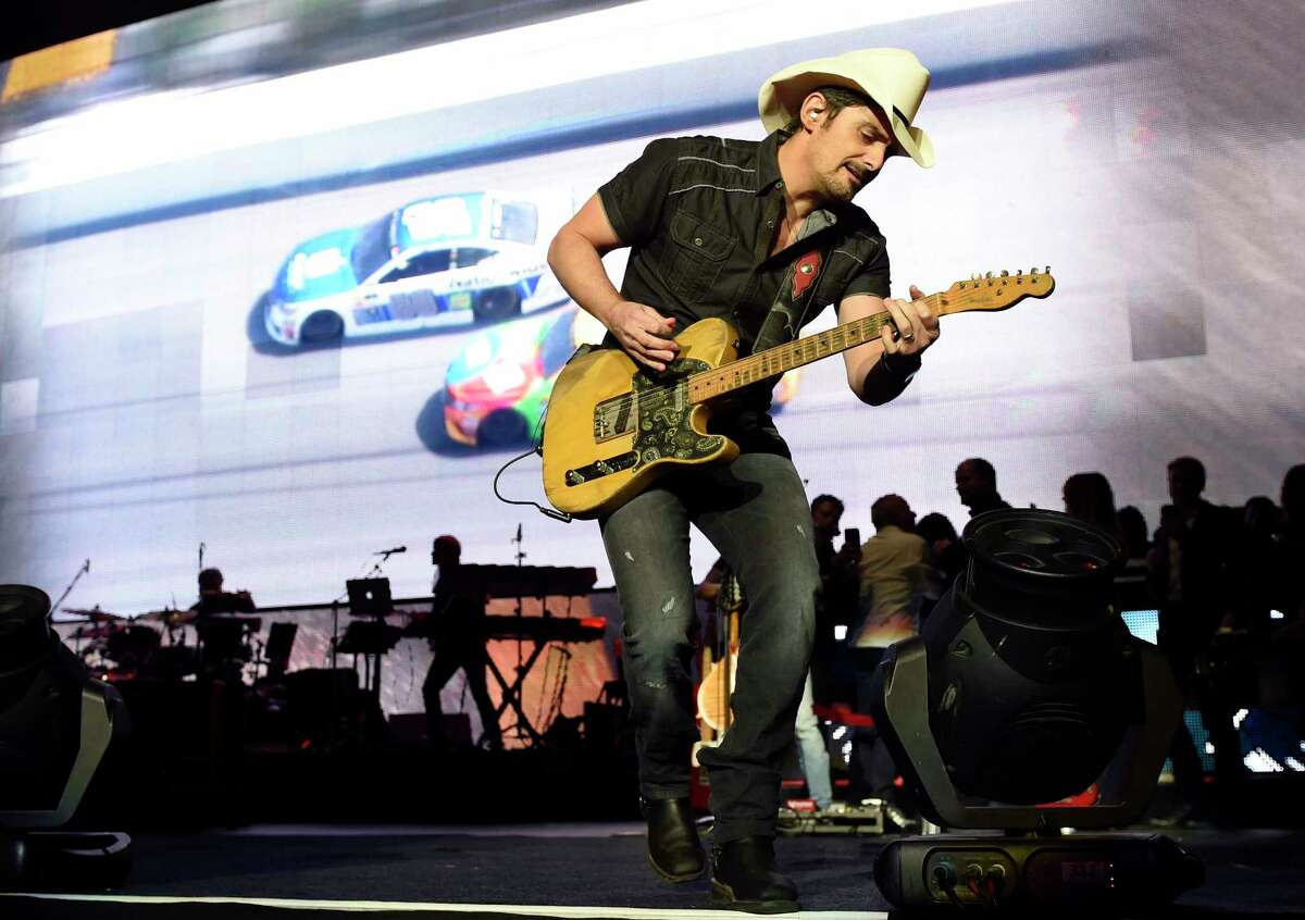Brad Paisley performs during his Weekend Warrior World Tour stop at Staples Center on Thursday, Jan. 25, 2018, in Los Angeles. (Photo by Chris Pizzello/Invision/AP)