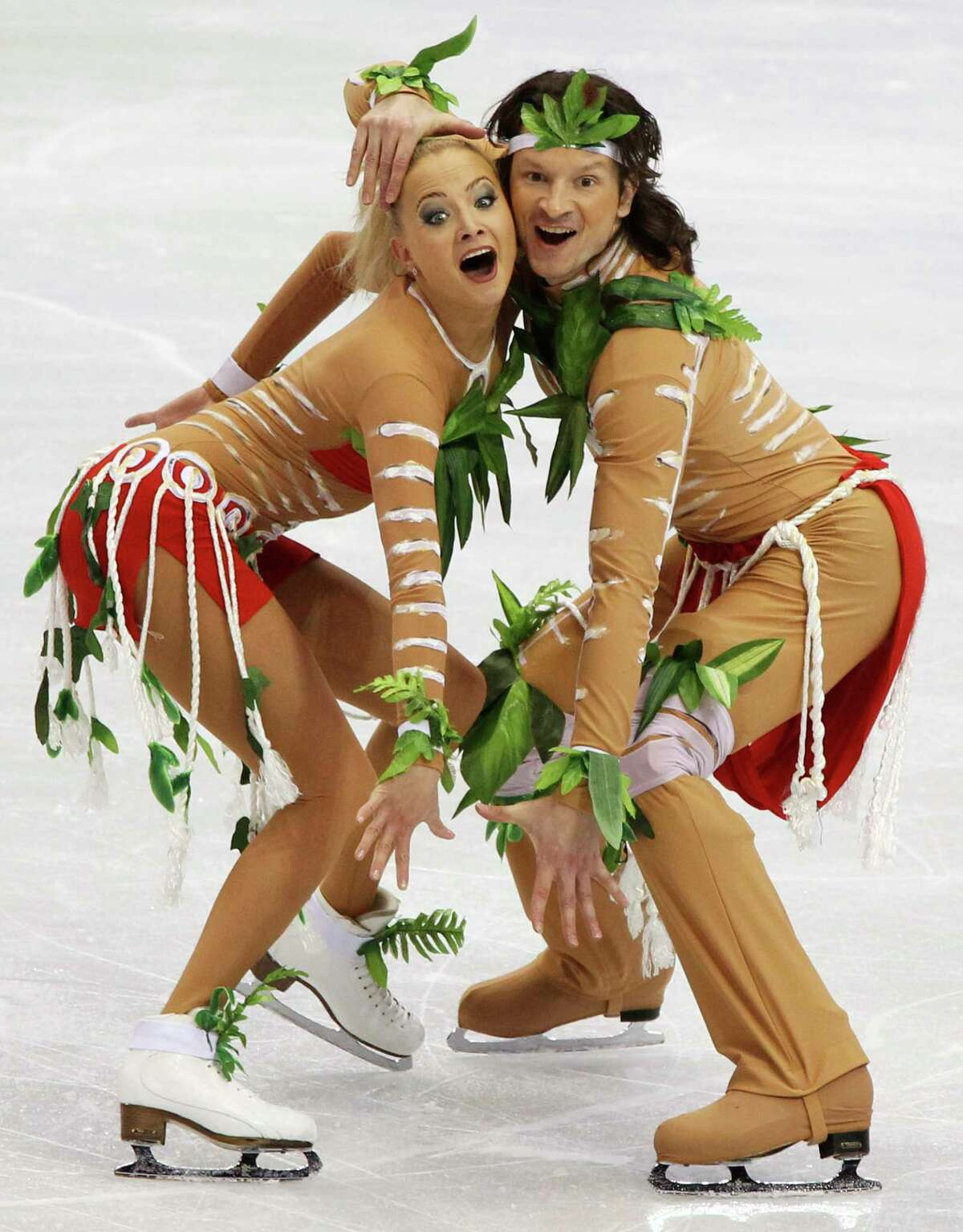 Russia's Oksana Domnina and Maxim Shabalin perform their original dance during the ice dance figure skating competition at the Vancouver 2010 Olympics in Vancouver, British Columbia, Sunday, Feb. 21, 2010.