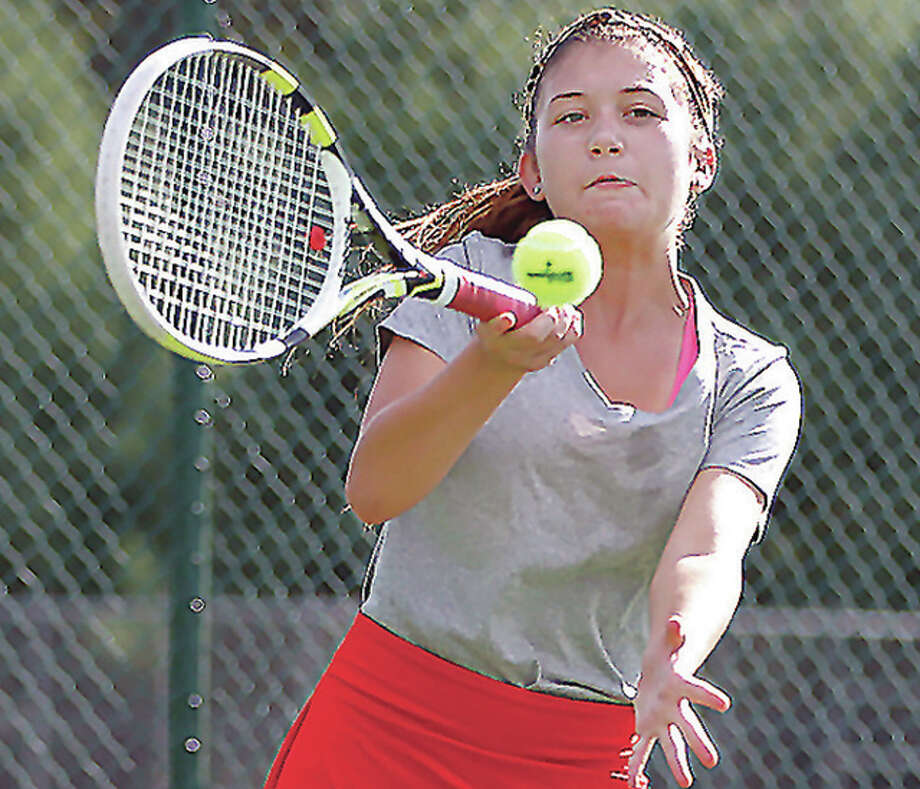 Alton High's Shannon Willis was one of the players taking part in last summer's Alton/Godfrey Closed tennis tournament. She also teamed with Abby Fischer to win the 2015 18-and-under under girls doubles title. This summer's tourney is set for later this month, with the singles portion set for June 13, 14, and 15 at Alton High School and at Lewis and Clark Community College. The doubles championships will be held on June 27-29 at AHS and LCCC. Photo: Telegraph File Photo