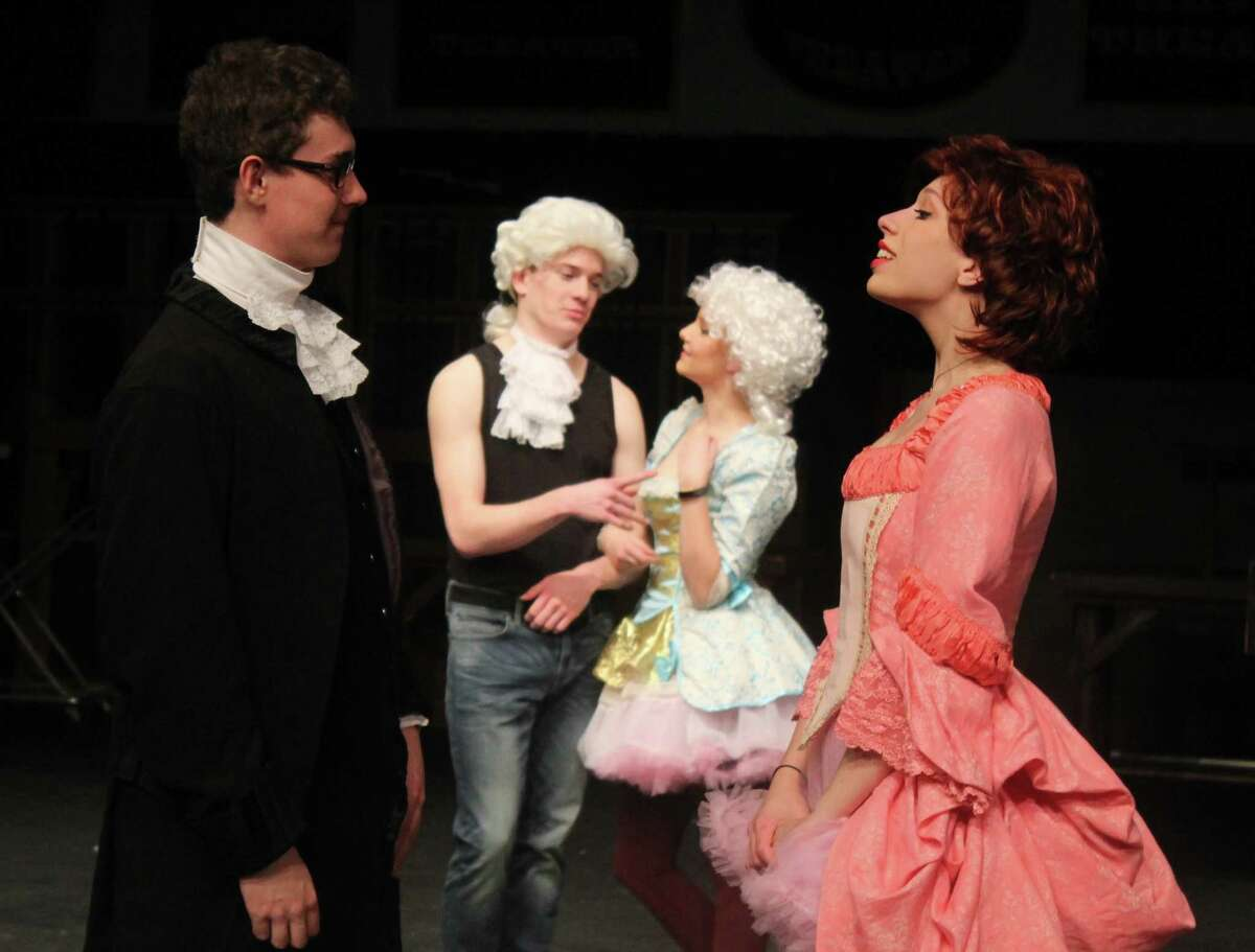 """Wilton High School students involved in this year's senior show, """"Scamilton?- An American Rip-off,"""" written and directed by senior Luke Maloney."""