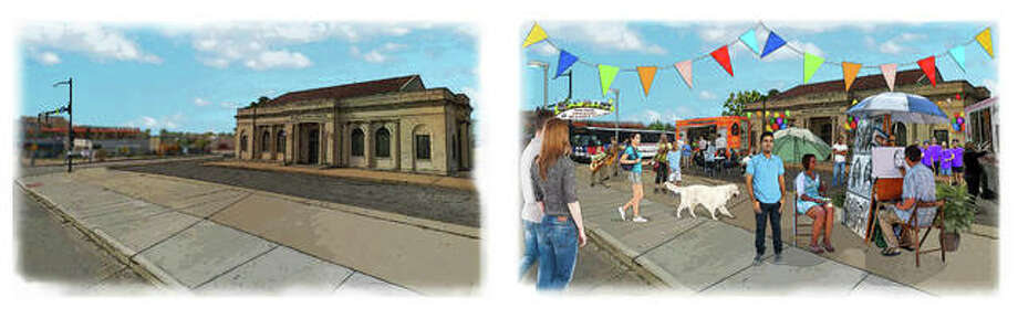 Citizens for Modern Transit (CMT) and AARP St. Louis will showcase how vacant spaces around MetroLink stations can be transformed into focal points of activity, as illustrated, at the finish line for CMT and AARP's Great Race: Transit in Action taking place Wednesday, June 14, the same day as the pop-up Metro Market from 4 to 6:30 p.m. The Metro Market is designed to temporarily transform the vacant site into an active space that connects people to products, services and green spaces, showcasing how areas around transit stations can become focal points for activity. Metro Market is free and open to the all ages of the public to attend. Photo: For The Telegraph
