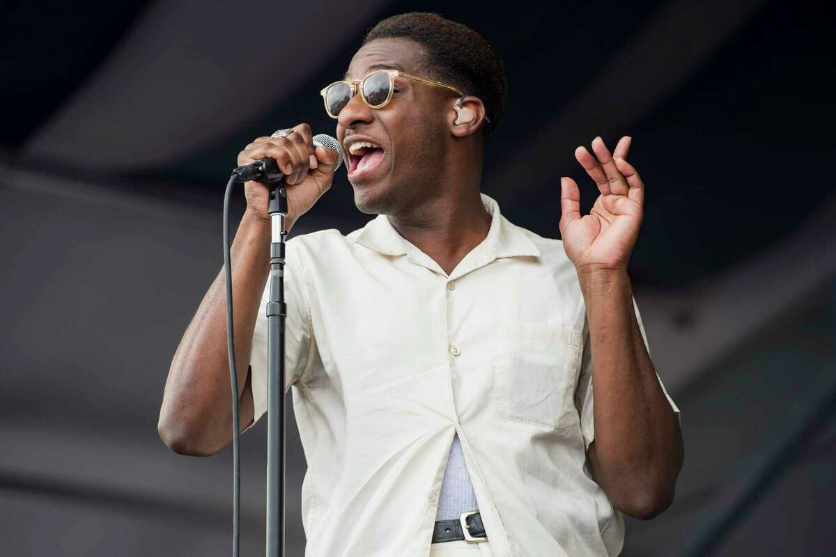 Leon Bridges performs during the 2017 New Orleans Jazz & Heritage Festival at Fair Grounds Race Course on April 28, 2017 in New Orleans, Louisiana.