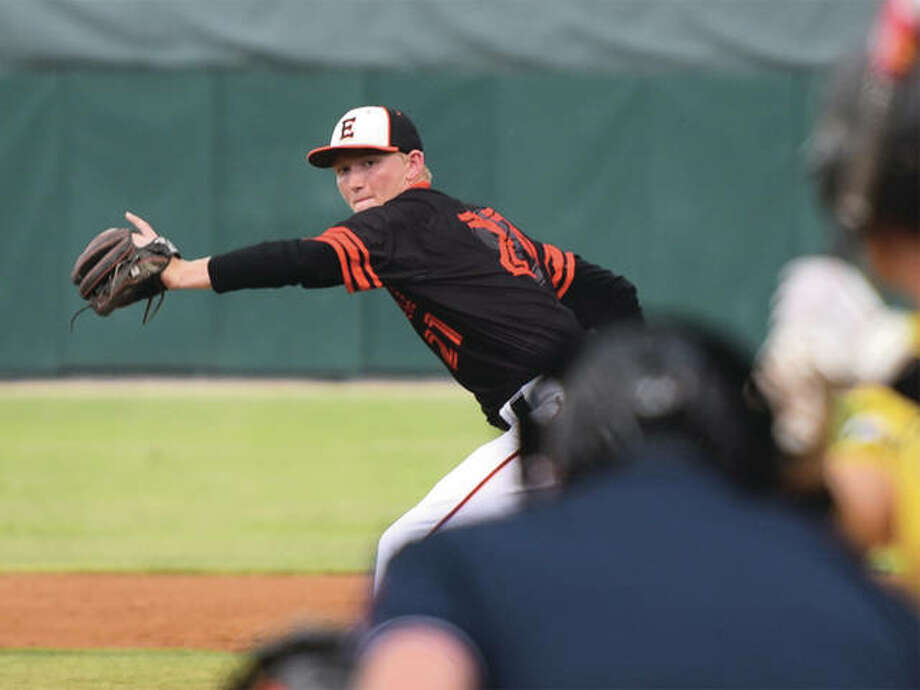 Edwardsville's Andrew Yancik delivers a pitch against Burbank St. Laurence on Friday night in the Class 4A state semifinals in Joliet. Yancik threw his third complete game of the postseason to put the Tigers in Saturday's championship game. Photo: Gary Middendorf / For The Telegraph