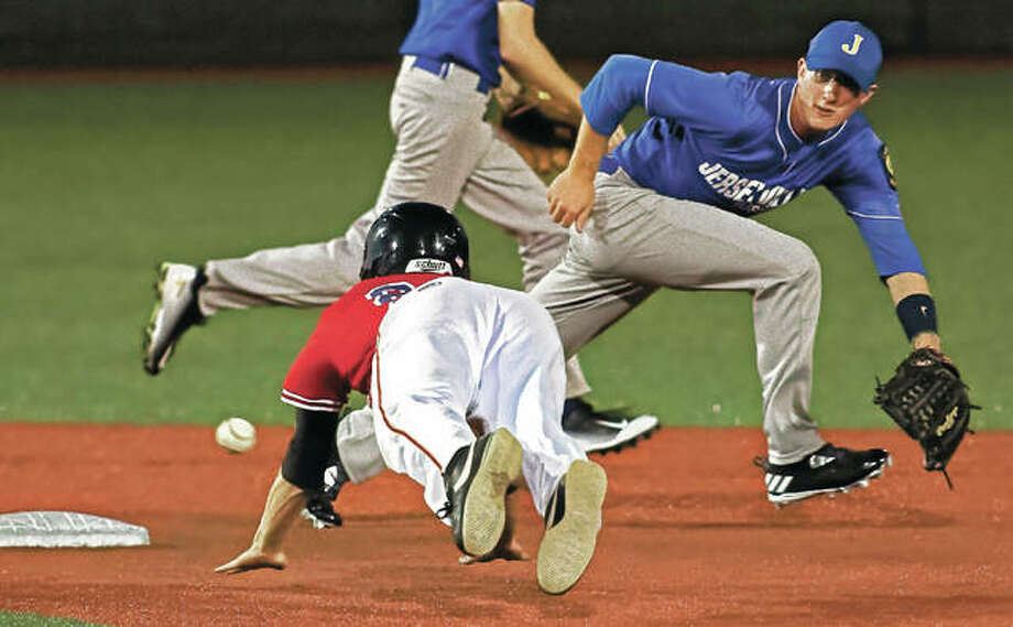 Metro East Bears left fielder Kade Burns steals second base Monday night as Jerseyville second baseman Zach Benware stretches for an off-line throw in the 3-0 Bears win at Roy E. Lee Field. Photo: Nathan Woodside | For The Telegraph