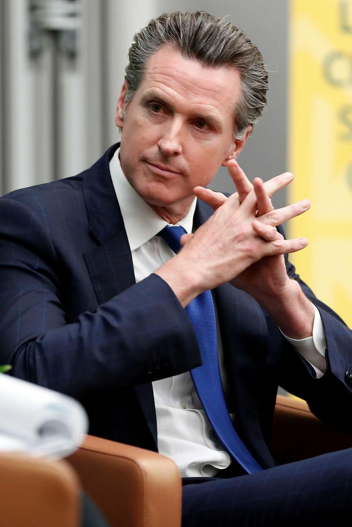 California Lt. Governor and Gubernatorial candidate Gavin Newsom is interviewed by Politco's Carla Marinucci at University of San Francisco in San Francisco, Calif., on Monday, February 5, 2018.