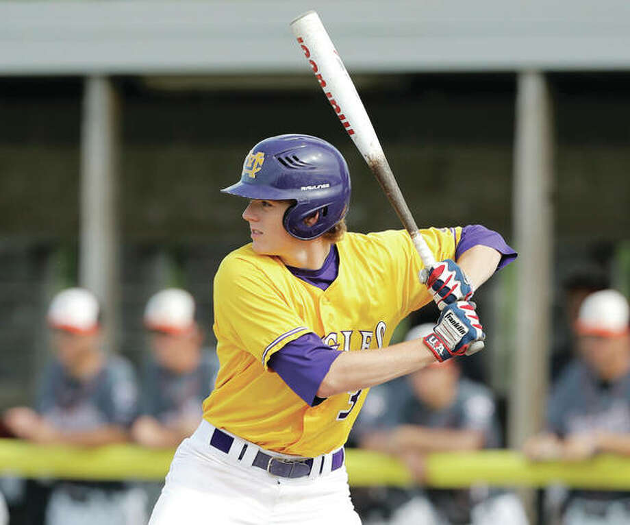Corey Price of the Metro East Bears was 3-for-4 with a double and two RBIs Thursday night in a 6-0 victory over Smithton at Smithton City Park. He is shown playing for Civic Memorial during the recent high school season. Photo: Telegraph File Photo