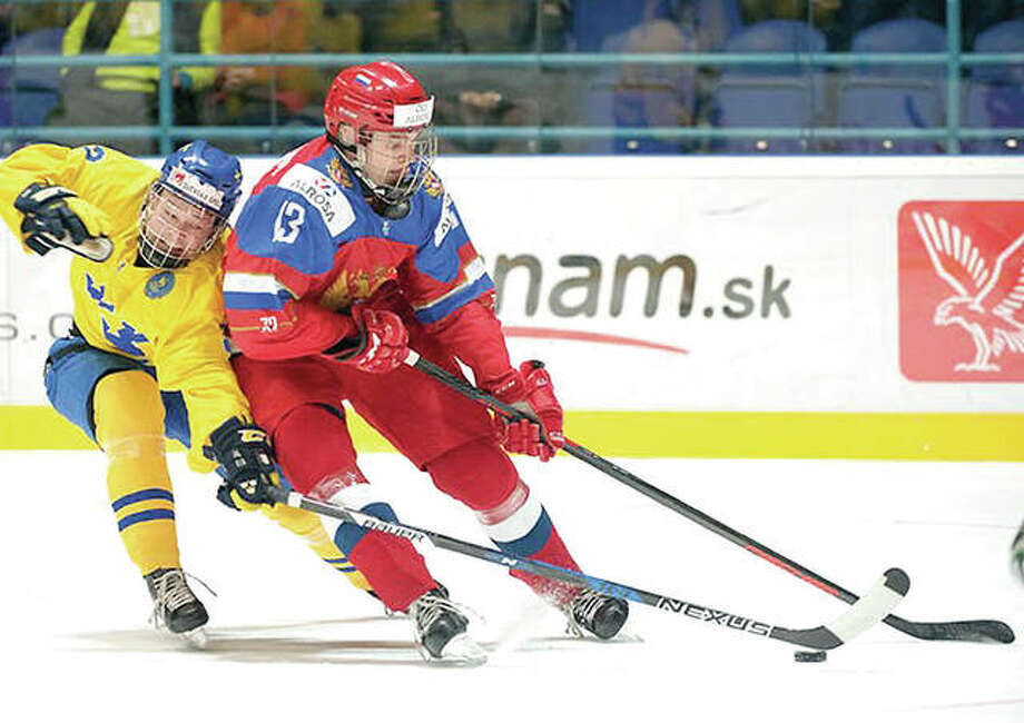 Alexei Toropchenko (13) was drafted by the Blues Saturday in the NHL Entry Draft in Chicago. Toropchenko is shown in action during the Under-18 World Championships in Slovakia earlier this year. Photo: NHL