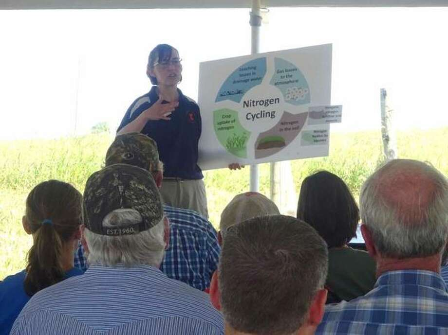 Dr. Laura Christianson, presenting information on the research to be conducted at the Dudley Smith Research Farm. Photo: For The Telegraph