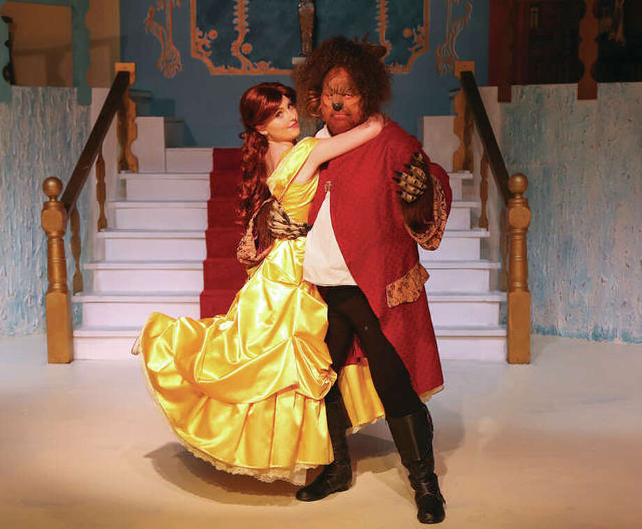 "Margaret Sommerhof, as Belle, and Kevin Frakes, as the beast, in Alton Little Theater's production of ""Beauty and the Beast,"" opening Friday, July 7. Photo: Pete Basola/For The Telegraph"