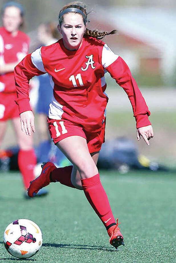 Alton's Brianna Hatfield has been named to the website 'Chicagoland Soccer' All-State Girls Soccer Team, her second All-State selection of the season. Photo: Telegraph File Photo