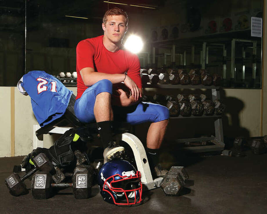 Carlinville running back Jacob Dixon, who led the Cavaliers to the Class 3A state championship game, is The Telegraph's Small-Schools Football Player of the Year for the second consecutive year. Photo: Billy Hurst | For The Telegraph