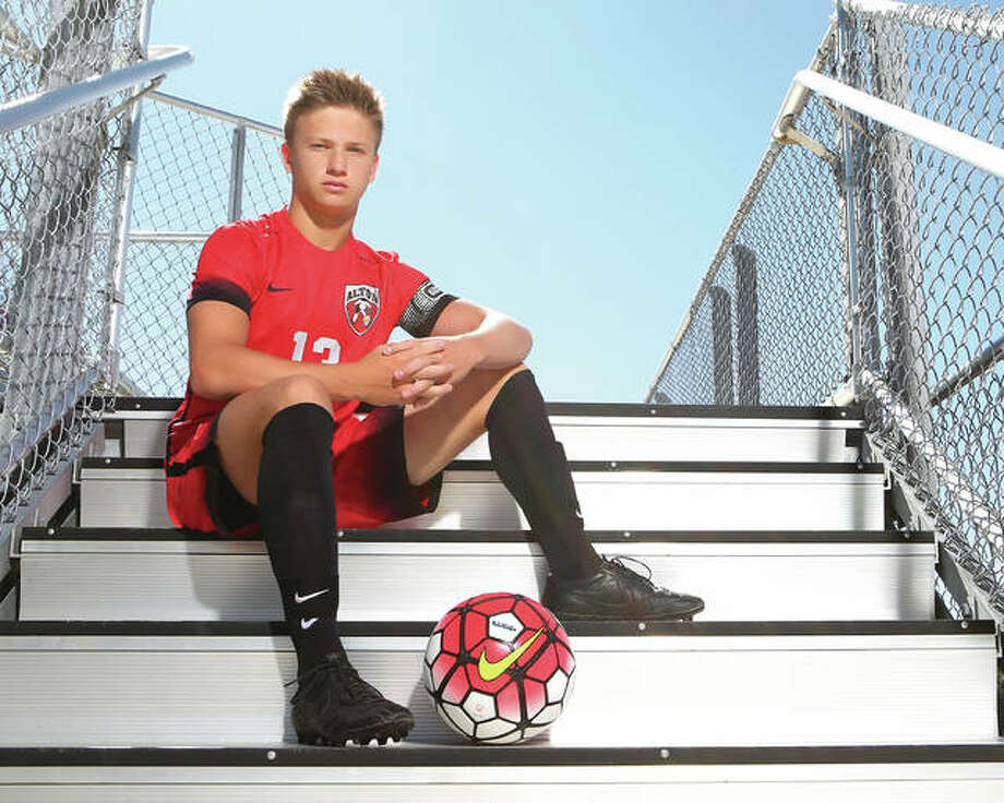 Alton High All-Stater Skylar Funk is The Telegraph's 2016 Large Schools Soccer Player of the Year. He will play at Lewis and Clark Community College next fall. Photo: Billy Hurst | For The Telegraph