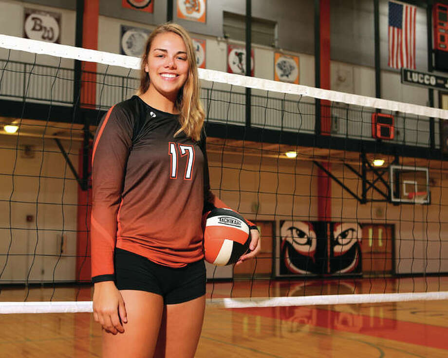 Edwardsville junior Rachel Pranger set a school-record for kills in a single season and is the 2016 Telegraph Large-Schools Volleyball Player of the Year. It is the third straight player of the year award for Pranger. Photo: Billy Hurst / For The Telegraph