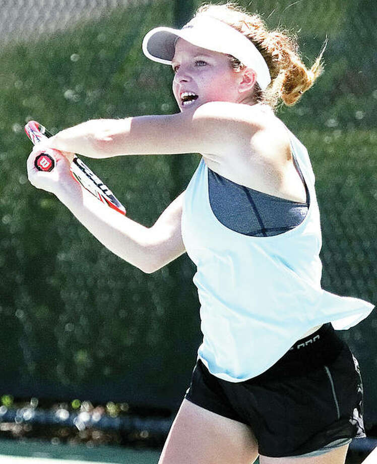 Janelle Wilson will return to defend her Women's Open championship this weekend at the Alton Open tennis tournament at Lewis and Clark Community College. Wilson is shown in action last month in winning the final at the Alton Closed Tourney. Photo: Nathan Woodside | For The Telegraph