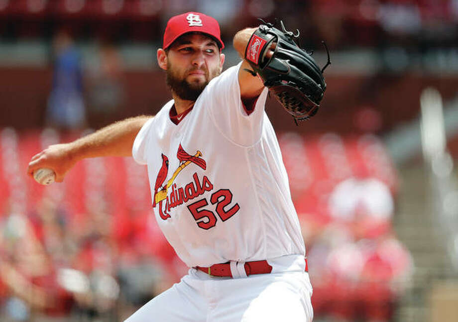 Cardinals pitcher Michael Wacha throws during win over the Miami Marlins on Thursday afternoon at Busch Stadium. Photo: Associated Press