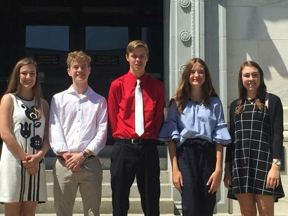 From left, legal interns Liberty Felix, Alton High; Will Hengehold, Edwardsville High; Noah Pirtle, Father McGivney; Remington Grosze, Edwardsville High; and Kimberly Stinson, Metro East Lutheran High. Not pictured are fellow internship program participants Kara Carnes and Cassi Heintz. Photo: For The Telegraph