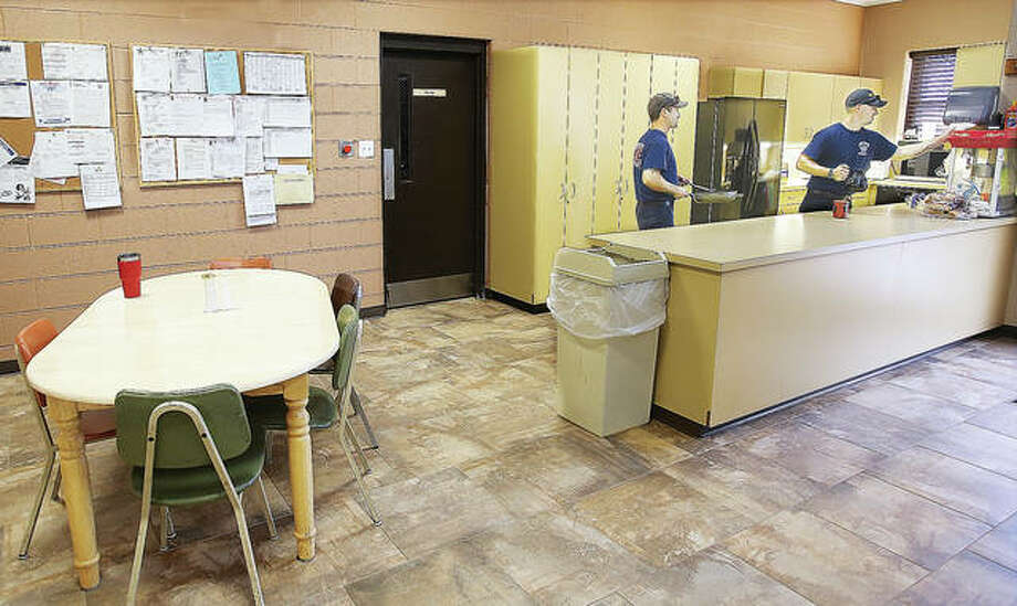 Wood River firefighters are enjoying their partially renovated Central Station living area which included fresh paint on the walls, a new refrigerator and new tile floors. Photo: John Badman|The Telegraph