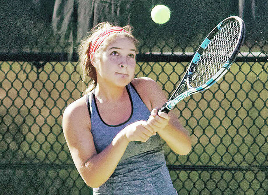 Top-seeded Hannah Macias advanced out of the semifinal round in NTRP Women's 3.5 singles play Saturday at the Alton Open tennis Tournament at LCCC. Macias is shown in action earlier this summer at the Bud Simpson Open. Photo: Nathan Woodside File Photo | For The Telegraph