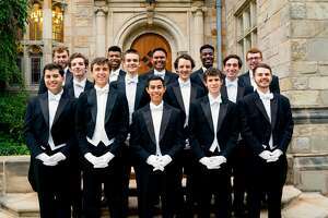 The Yale Whiffenpoofs will perform at the Bijou Theatre in Bridgeport on Feb. 17. Above are the 2017-18 singers.