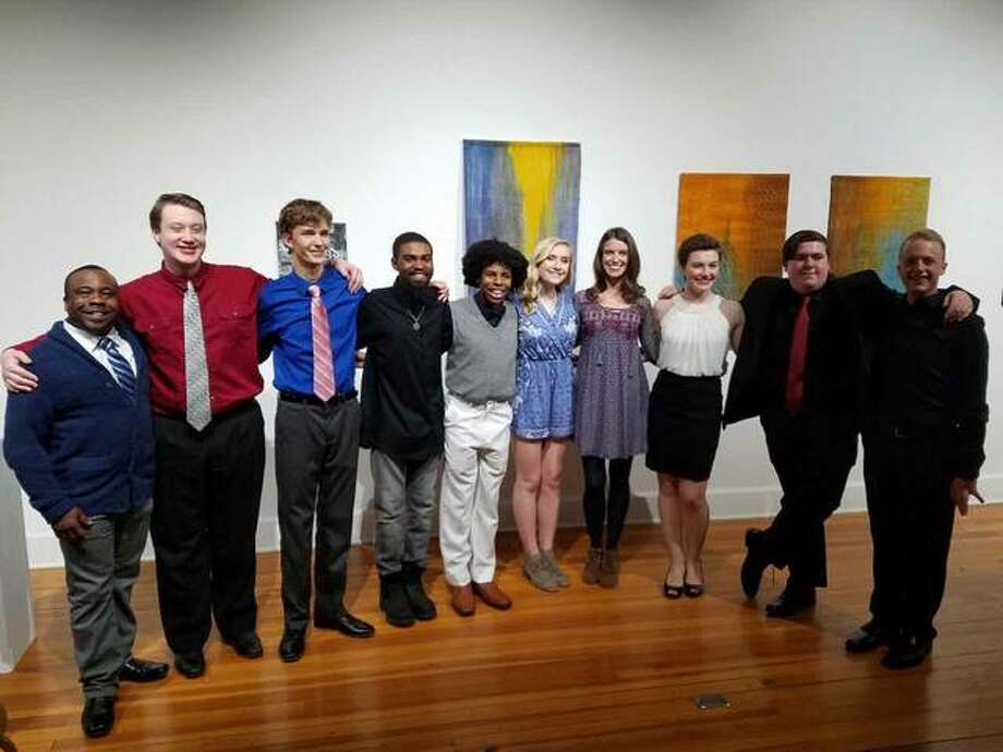 Seven Alton High School students will perform musical selections from the 1700s to 2015 at a 7 p.m. concert Saturday at Jacoby Arts Center in Alton. Vocalists and teachers are, from left, voice teacher Eddie Hitchcock, Preston King, Kevin Neace, Jonathan Williams, Gabriel Generally, Alexis Neal, voice teacher Alison Neace, Sydney Shansey, Spencer Domer and pianist Tyler Thornberry.