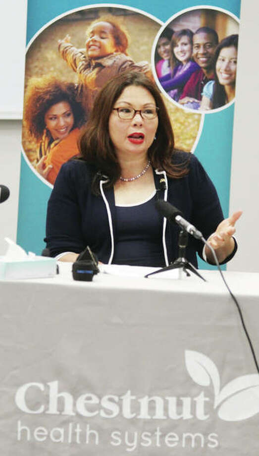 U.S. Sen. Tammy Duckworth, D-Illinois, speaks about opioid abuse and the impact of potential health care cuts after touring Chestnut Health Systems in Granite City. She said that instead of cutting funding for health care and giving tax breaks and incentives to Big Pharma, they should be expanding treatment programs and opportunities.