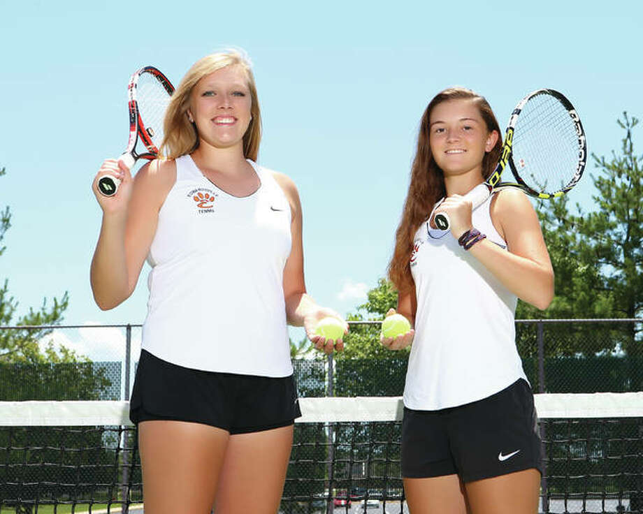 Edwardsville's Morgan Colbert, left, and Grace Desse are the 2016 Telegraph Girls Tennis Players of the Year. Colbert, a senior, and Desse, a junior, teamed up in doubles and became the first Tigers to make the state semifinals on their way to a fourth-place finish at the Class 2A state tournament. Photo: Billy Hurst | For The Telegraph