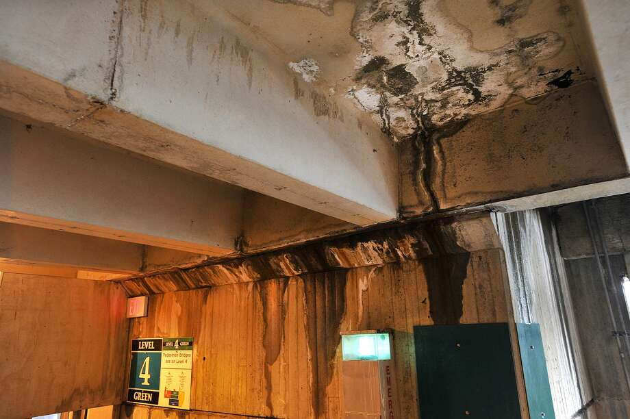 Damage can be seen on the fourth floor of the train station parking garage in Stamford, Conn., on Tuesday, March 3, 2015. Photo: Jason Rearick / Jason Rearick / Stamford Advocate