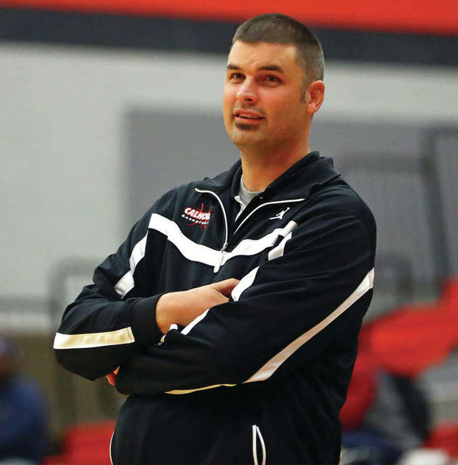 Calhoun coach Aaron Baalman guided his Warriors to a third-place finish at the IHSA Class 1A State Tournament and is The Telegraph's Small-Schools Girls Basketball coach of the Year. Photo: Billy Hurst | For The Telegraph