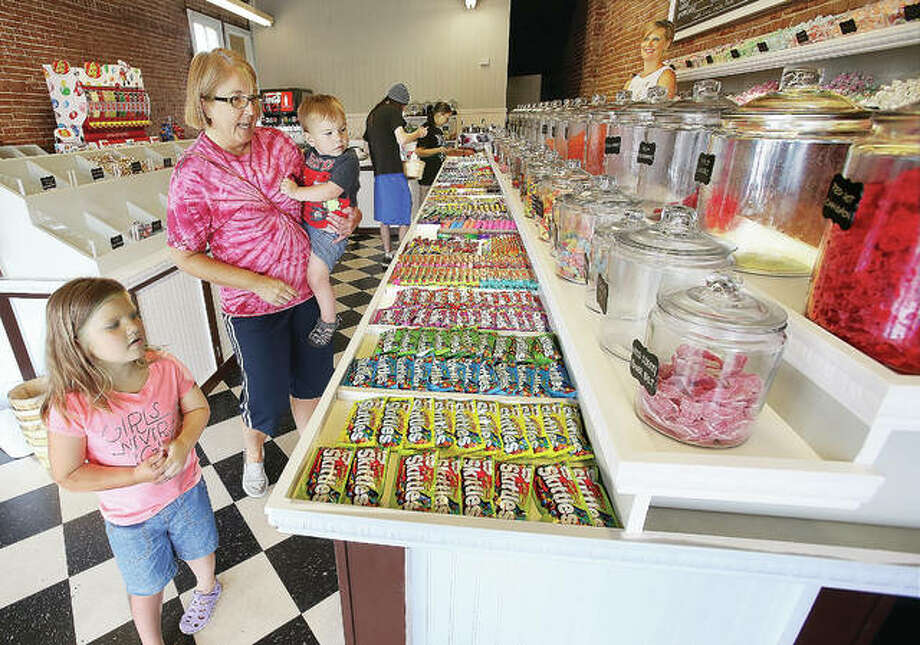 They were like kids in a candy store Friday at the recently opened Sherry's Snacks, 2500 College Ave. in Upper Alton. The first mostly-candy store to open in Alton in years is doing a steady business. Photo: John Badman|The Telegraph