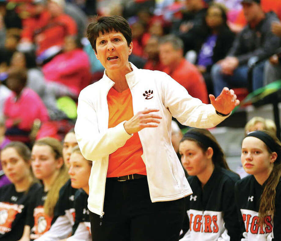 Edwardsville coach Lori Blade, shown in an exchange with offcials during a Tigers' Southwestern Conference win at Alton High, is the 2016-17 Telegraph Large-Schools Girls Basketball Coach of the Year. Photo: Billy Hurst | For The Telegraph