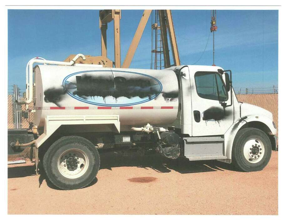Midland authorities are searching for the suspect or suspects involved in theft. The Freightliner truck pictured above was stolen and vandalized. Photo: Midland Crime Stoppers
