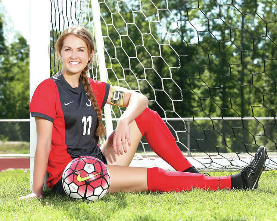 Alton junior Brianna Hatfield scored 20 goals and added three assists for the Redbirds and is The Telegraph's 2017 Girls Soccer Player of the Year. A Florida Gulf Coast University recruit, Hatfield was named to two All-State teams and received Southwestern Conference all-conference honors. Photo: Billy Hurst | For The Telegraph