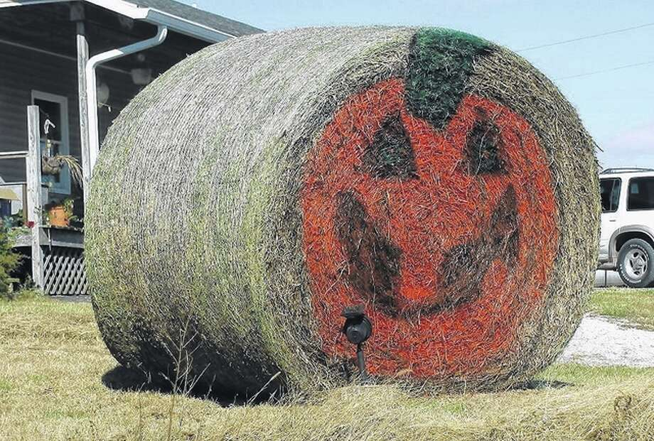 A bale of hay in rural Greene County is ready for Halloween. Photo: Beverly Watkins | Reader Photo