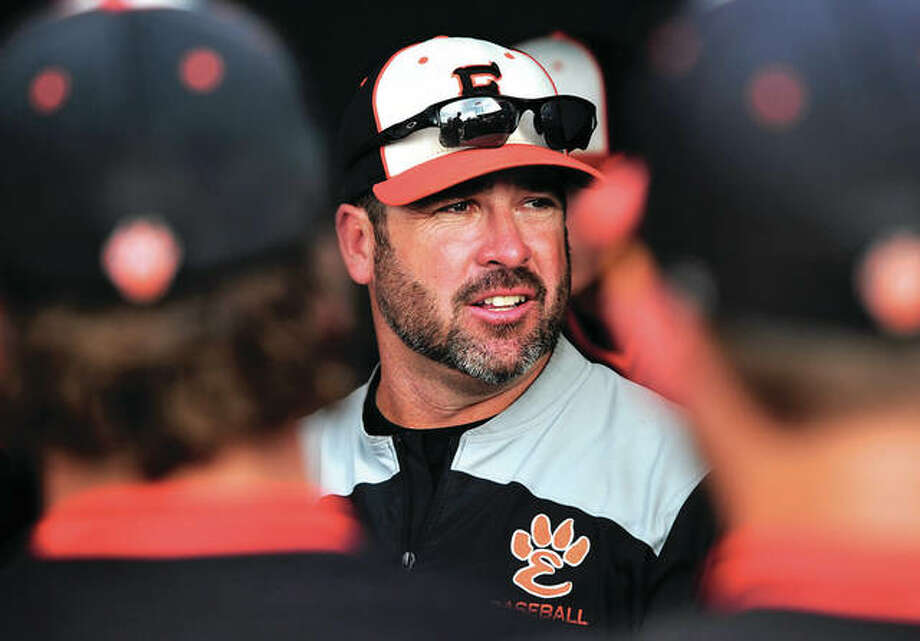 Edwardsville coach Tim Funkhouser talks to his team a Class 4A state semifinal game last month in Joliet. The Tigers finished second at state with a 34-8 record to earn Funkhouser the 2017 Telegraph Large-Schools Baseball Coach of the Year award. Photo: Gary Middendorf / For The Telegraph