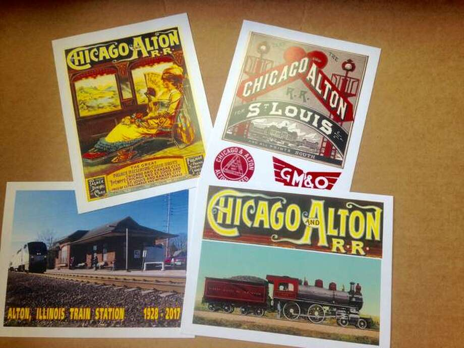 American Association of Railroaders Inc., is selling commemorative, Chicago and Alton Railroad cards in honor of the old Amtrak station about to close. Photo by Linda N. Weller