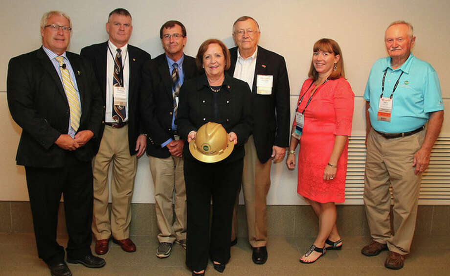 Photo provided Among those presenting the 2016 Illinois Electric Cooperatives' Public Service Award to Rep. Norine Hammond were leaders from Illinois Electric Cooperative Kevin Brannan (from left), Thomas Meehan III, Jim Freeman, Hammond, Ronald Myers, Julie Eberlin and Gary Clark.