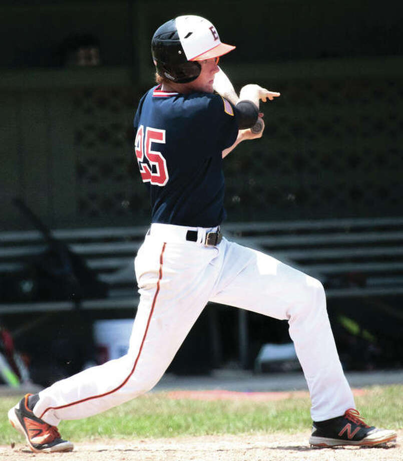 Metro East's Will Messer, a 2017 Edwardsville graduate, had a big day at the plate Thursday in the Bears' victory over Arlington Heights at the Senior Legion baseball state tournament in Rantoul. Photo: Nathan Woodside / For The Telegraph