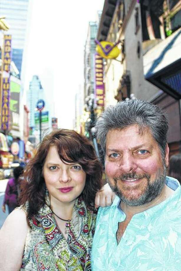 "Carlinville native Richard D. Russell (right) and lyricist Emily Clare Thompson visit New York City's famed 42nd Street. The two will take the musical ""It Takes a Rainbow"" to off-Broadway this weekend. Photo: For The Telegraph"