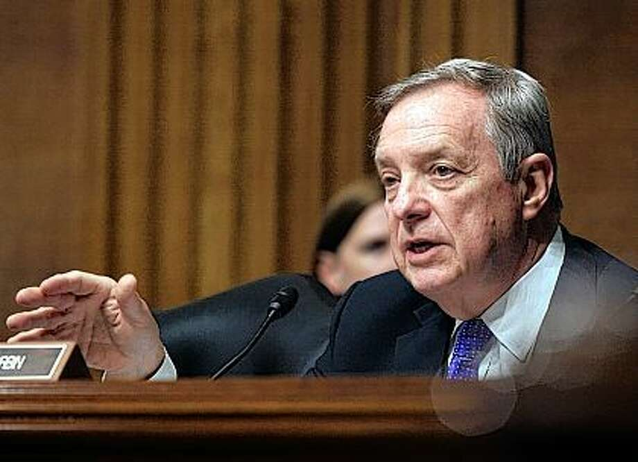 U.S. Sen. Dick Durbin, D-Ill., appears, on Capitol Hill in Washington on April 28, 2015. Durbin is taking the rare step of weighing in on the states handling of a health insurance rate increase request by Blue Cross Blue Shield of Illinois. The state's leading insurer is suggesting price increases for 2017 ranging from 23 percent to 45 percent for individual health plans. Durbin, the state's senior senator, says the company could be more competitive and reduce costs, and he's pressing state regulators to take action. Lauren Victoria Burke | AP Photo