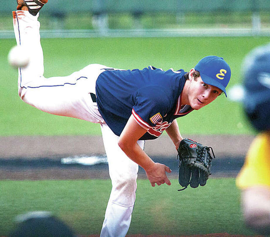 Metro East Bears relief pitcher Zach Seavers delivers a pitch as he shuts the door Thursday on a late-inning surge by Danville Thursday in the Great Lakes Regional American Legion Tournament in Toledo, Ohio. Photo: Nathan Woodside | For The Telegraph