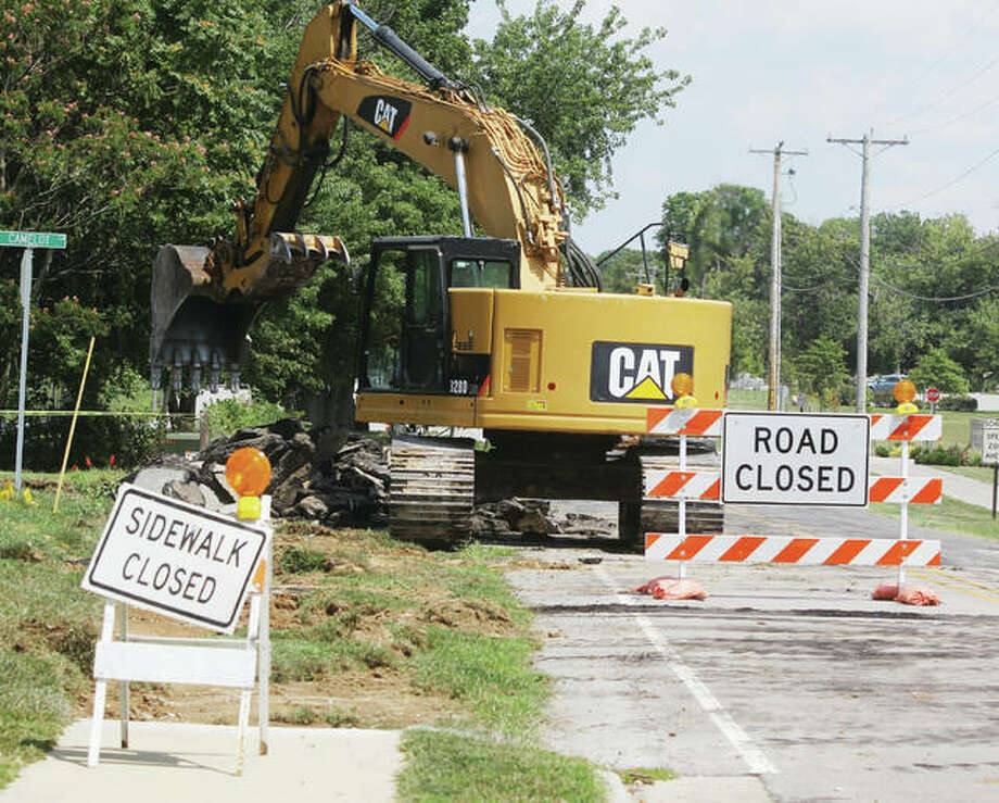 Construction equipment sits on Stamper Lane Wednesday afternoon. A major reconstruction of part of the road will mean the roads closure for several months. However, village officials emphasized at Tuesdays Village Board meeting that access to Glazebrook Park is available on Pierce Lane.