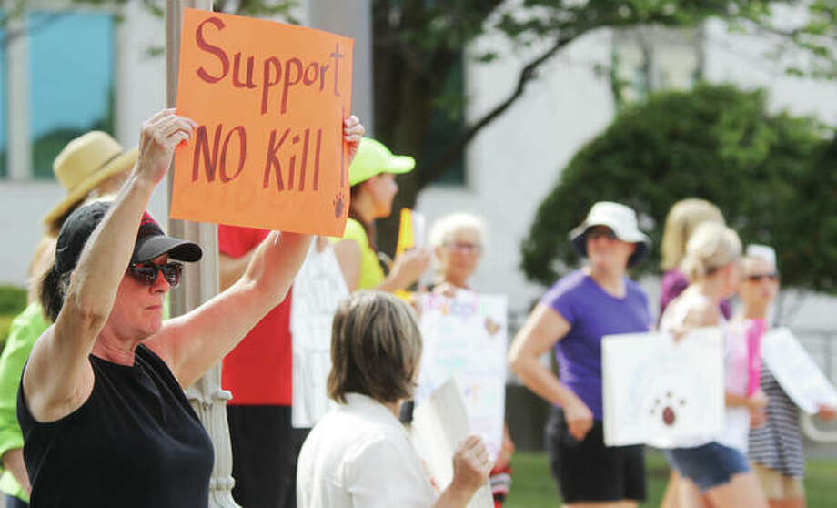 "People show support for a ""no-kill"" policy at Madison County's Animal Control Department during a protest last month of the euthanasia of several dogs that pet rescue agencies had been interested in. About 40 people came out to the July Madison County Board meeting to protest. Changes to the county's animal control ordinance are on the agenda for the board's Public Safety Committee meeting Monday. Photo: Scott Cousins 