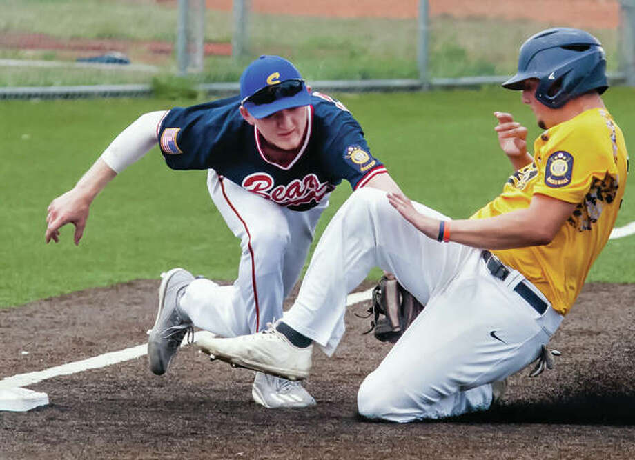 Metro East third baseman Andrew Yancik lunges to tag out Danville runner after taking a throw from Bears right fielder Corey Price in a Bears win Thursday at the American Senior Legion Great Lakes Regional in Toledo, Ohio. Photo: Nathan Woodside / For The Telegraph