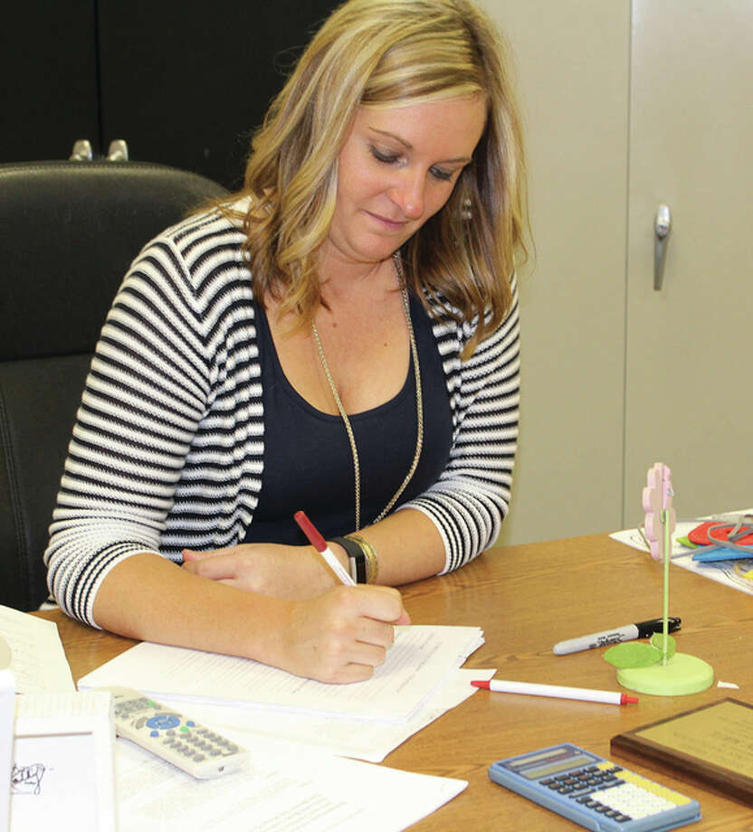 North Elementary School teacher Allyson Maul works on her plans for the school year. She was named the 28th Bill Russell Award recipient Thursday. Photo: Samantha McDaniel-Ogletree | Journal-Courier