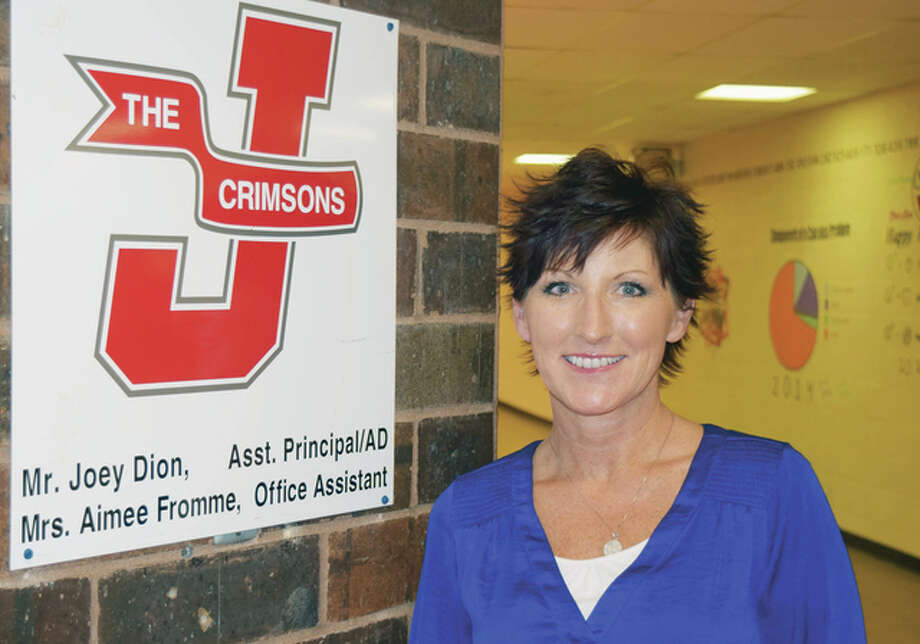 Jacksonville High School athletic department administrative assistant Aimee Fromme. Photo: Greg Olson | Journal-Courier
