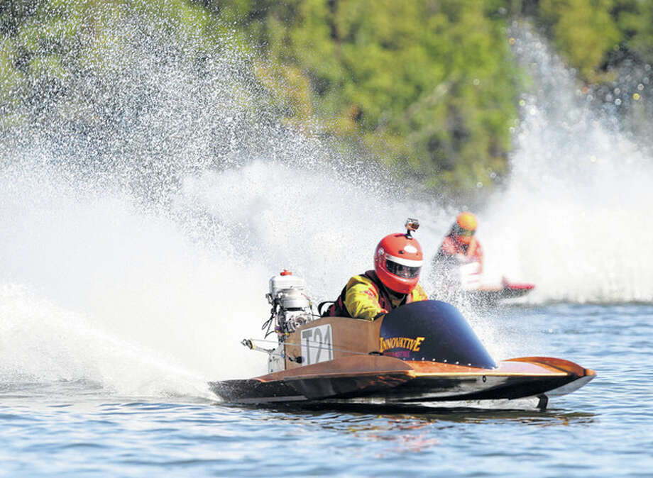 Matt Allen of Texas gets out in front during a race at the National Boat Racing Association's short-course nationals last year at Lake Jacksonville. Boats reached speeds 55 to 80-plus mph.