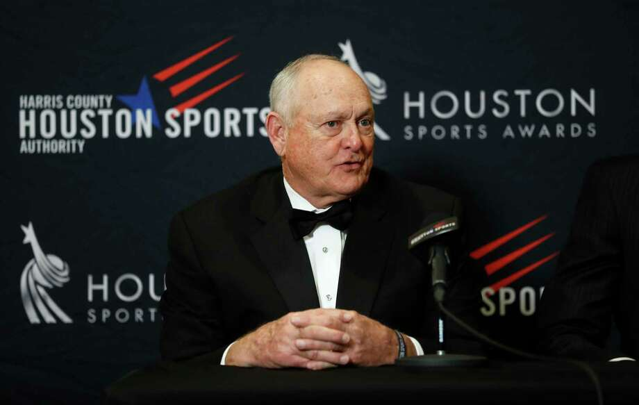 Nolan Ryan speaks to the media as he and Houston's 34s Earl Campbell and Hakeem Olajuwon got together during a press conference after the Houston Sports Awards at the Hilton Americas, Thursday, Feb. 8, 2018, in Houston. Photo: Karen Warren, Houston Chronicle / © 2018 Houston Chronicle