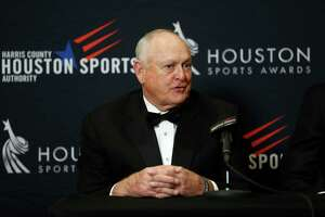 Nolan Ryan speaks to the media as he and Houston's 34s Earl Campbell and Hakeem Olajuwon got together during a press conference after the Houston Sports Awards at the Hilton Americas, Thursday, Feb. 8, 2018, in Houston.