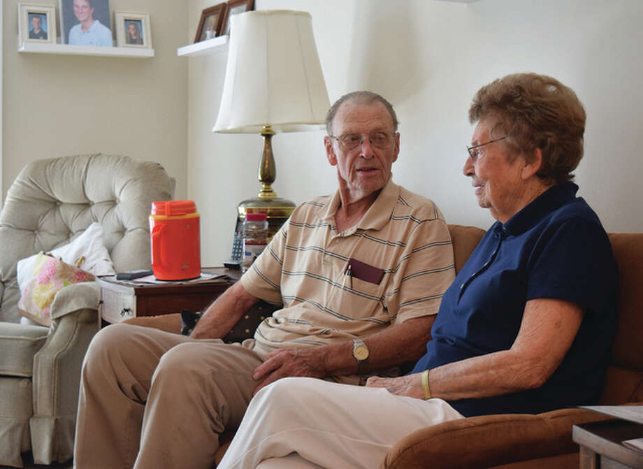 Floyd Musch and his wife of 67 years, Maxine Musch, relax Wednesday in their new apartment at Cedarhurst Assisted Living and Memory Care of Jacksonville at 2225 W. Morton Ave. Cedarhurst, which has 50 assisted living and independent apartments and a separate memory care center, welcomed its first residents Wednesday, according to Executive Director Becky Woiwode. Photo: Greg Olson | Journal-Courier